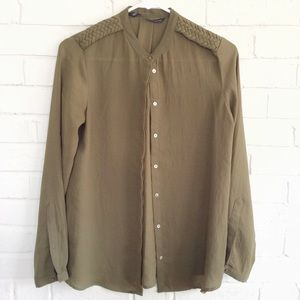 Zara Basic olive green military chiffon blouse